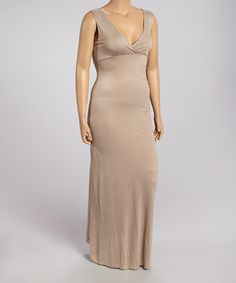 Love this Tan V-Neck Maxi Dress - Plus on #zulily! #zulilyfinds