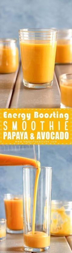 Energy boosting smoothie recipe with papaya & avocado. Healthy energy boosting smoothie. Best weight loss smoothie recipe. Energy smoothy for workout via @happyfoodstube