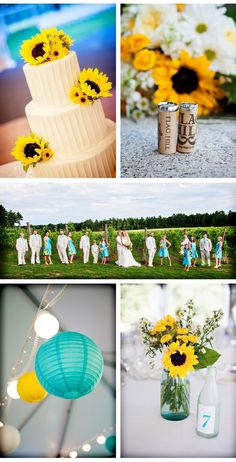 aqua/yellow wedding | Country Chic Sunflower Wedding {from Casey Durgin Photography}