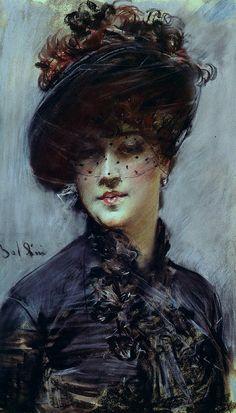 Ritratto di una Lady con un cappello nero di Giovanni Boldini