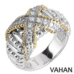 Stylish X ring made of 14k gold, sterling silver and diamonds. Style # 12672D #VAHAN #VahanStyle #Ring #Gold #Silver #Diamonds