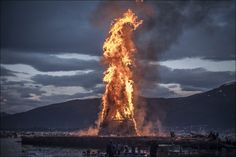 The worlds biggest bonfire in Alesund Norway