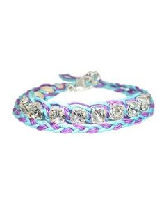 Turquoise And Purple Double Wrap Bracelet