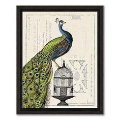 Peacock Birdcage I Wall Art
