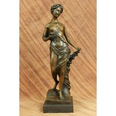 """ON SALE !!! Signed ~Moreaue~ Royal Roman Goddess Picking Flowers Bronze Sculpture Statue Art...A Beautiful Pure Roman Goddess Steals A Leisurely Moment In The Day To Stroll Through The Woods On A Peaceful Afternoon And Pick A Fresh Bouquet Of Flowers. She Walk Gently On Her Bare Feet As She Walks Done The Rough Path. Her Long Dress Clings To Her Curves. 100% Bronze And Handmade, This Brown Patina Sculpture Was Cast Using The """"Lost Wax Method"""" And Mounted On A Marble Base And Is Signed ..."""