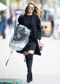 Gigi Hadid Sweater Dress Black Over-the-Knee Boots and Coat