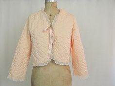 Vintage 1980s Avon Pink Quilted Bed Jacket