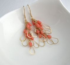Pink Coral Little Wing Earrings by SarahHickeyJewellery on Etsy