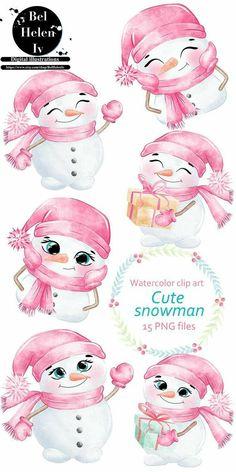Clipart Noel, Snowman Clipart, Christmas Clipart, Pink Christmas, Christmas Printables, Christmas Wreaths, Christmas Crafts, Christmas Drawing, Christmas Paintings