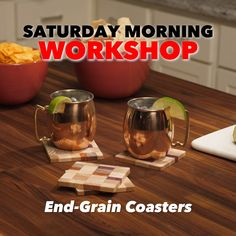 Saturday Morning Workshop: How To Make Scrap Wood End-Grain Coasters Wood Shop Projects, Diy Projects, Wood Scraps, Workbench Plans, Saturday Morning, Diy Videos, Grains, Coasters, Workshop