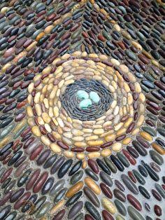 ( detail from large mosaic behind garage) 2015 Mosaic Rocks, Mosaic Stepping Stones, Pebble Mosaic, Stone Mosaic, Pebble Art, Mosaic Tiles, Rock Mosaic, Rocks Garden, Garden Paths