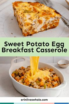 Start your morning on the right foot with this Sweet Potato Egg Breakfast Casserole. This dish features everything you love to enjoy for breakfast, all combined into one dish for a casserole that hits the spot every time! Potato And Egg Breakfast, Healthy Breakfast Dishes, Eggs And Sweet Potato, Breakfast Egg Casserole, Breakfast Bake, Sweet Potato Casserole, Casserole Dishes, Dairy Free Recipes Easy, Real Food Recipes
