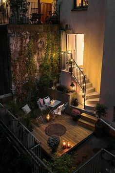 Outdoor patio with spiral stairs