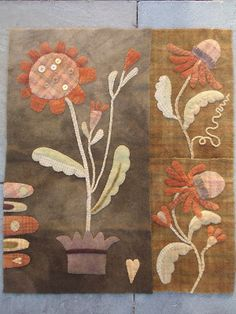 """""""Autumn Blooms"""" design by Maggie Bonanomi My intention when working on this piece was to create a bellpull style wall hanging for my living . Wool Applique Quilts, Wool Applique Patterns, Wool Quilts, Wool Embroidery, Hand Applique, Felt Applique, Wool Fabric, Primitive Stitchery, Primitive Quilts"""