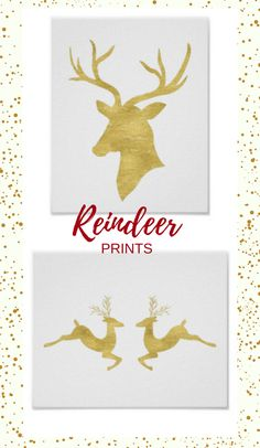 These gold reindeer prints are simply beautiful. A perfect way to add class and polish to Christmas decorating. #christmasdecor #reindeer #affiliate