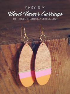 DIY Wood Veneer Earrings