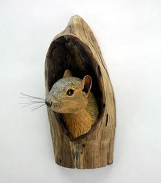 Reserved for Jim Wall Sculpture Squirrel Wood Carving Hand Carved by Mike Berlin