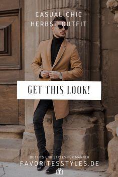 Erfahre welche Teile dazu passen! Casual Chic Outfit für Männer. Eleganter Herbst Look für die Freizeit mit Jeanshose, Rollkragenpullover, Halbschuhe und Wollmantel. Outfits für Männer mit passenden Teilen bei Favorite Styles. #favoritestyles #mode #fashion #outfit #männer #herren #style #stil #männermode #herrenmode #mensoutfit #mensfashion #ideen #inspiration #herbst #casual #chic #smart #elegant #arbeit #freizeit #herbst #schwart #braun #beige
