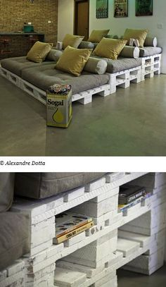 DIY Cozy Movie Seating Made w/ Wooden Pallets & Futon Cushions ~ Great Idea