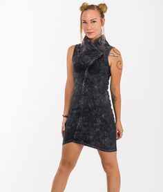 Razor dress  stonewash asymetrical by Alienelia on Etsy