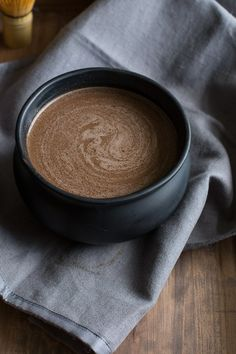 A warm morning brew made of almond milk steeped with cocoa, spices, maca and reishi mushrooms. Warming and delicious on cold October mornings!