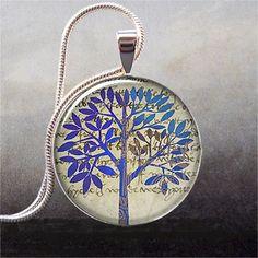 Blue Tree Collage art pendant charm tree by thependantemporium, $8.95