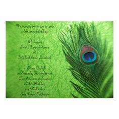 Shop Peacock Feather Lime Green Wedding Invitation created by Peacocks. Peacock Wedding Invitations, Custom Invitations, Invites, Lime Green Weddings, Emerald Green Weddings, Wedding Stuff, Our Wedding, Dream Wedding, Wedding Ideas