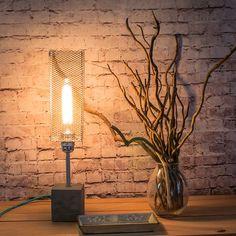 """Lámpara mesa industrial cemento plata, Lámpara industrial, Lámpara edison, Lámpara cemento, Lámpara plata, Modelo """"Lámpara LMBCPPTCG"""" de EunaDesigns en Etsy"""
