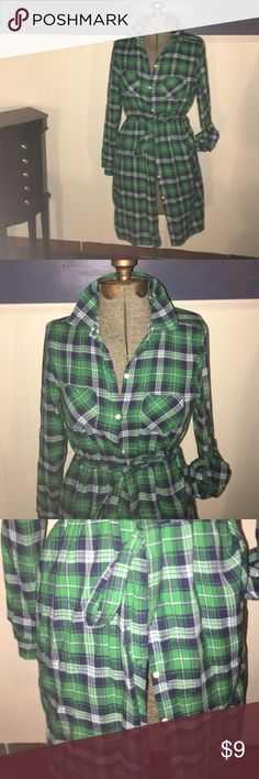 Old Navy long plaid shirt/dress Old Navy shirt plaid can be worn as dress or long shirt button up with plaid belt Old Navy Tops Button Down Shirts
