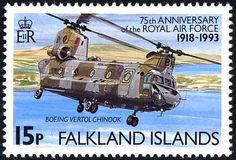 Sello: Boeing Chinook (Malvinas Islas) (RAF,75th Anniversary) Mi:FK 580,Sn:FK 575