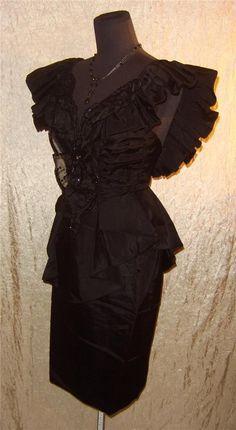 Vintage 80s Karen Okada Climax David Howard Avant Garde Peplum Cocktail Dress SM | eBay
