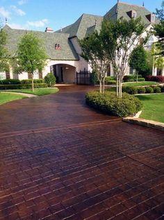 Imprinted Concrete Driveway, Concrete Driveways, Concrete Patio, Walkways, Driveway Design, Driveway Landscaping, Landscaping Ideas, Landscaping Company, Garden Paths