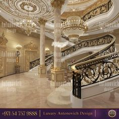 Luxury Antonovich Design is a luxury Interior Design Company in Dubai and interior architecture studio in Dubai. Complete Interior Design Services, Fit Out Services, Architecture. For Commercial and Home Projects! Mansion Interior, Luxury Homes Interior, Home Interior Design, Luxury Staircase, Staircase Design, Luxury Decor, Luxury Home Decor, Dream Home Design, House Design