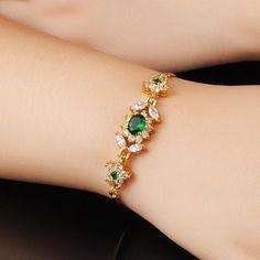 Sweet Women's Colored Rhinestone Gold Link Bracelet