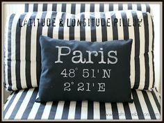 DIY Latitude and Longitude Pillow made with your Silhouette - what a fun Wedding Gift Idea! Cute Pillows, Diy Pillows, Throw Pillows, Stenciled Pillows, Pillow Ideas, Paris, Latitude Longitude, Long Pillow, Pillow Tutorial