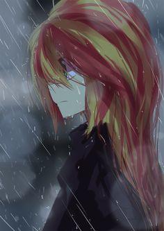 #901101 - artist:caibaoreturn, equestria girls, pixiv, rain, safe, solo, sunset shimmer - Derpibooru - My Little Pony: Friendship is Magic Imageboard