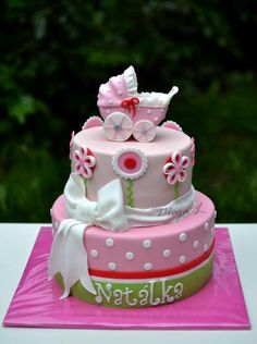 Christening stroller cake - Cake by majalaska Bridal Shower, Baby Shower, Beautiful Cakes, Christening, Baking, Birthday, Holiday, Desserts, Food
