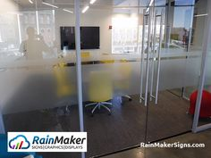 Innovative workplace builder, Apex Facility, installs frosted glass film on conference room for privacy. Frosted Window, Frosted Glass, Window Graphics, Glass Film, Retail Space, Conference Room, Skyline, Windows, Signs