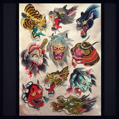 Idea 4 filling in between my sleeves Japanese Demon Tattoo, Japanese Demon Mask, Japanese Dragon Tattoos, Japanese Drawings, Japanese Artwork, Japanese Tattoo Designs, Sailor Jerry Tattoo Flash, Hannya Tattoo, Traditional Tattoo Art
