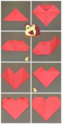 Origami szív hajtogatás menete - Bálint nap - Valentin nap - Valentin day - papír - saját készítésű - DIY