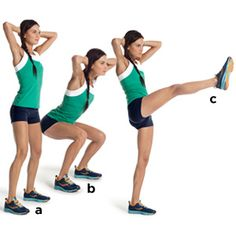 Squat and Kick: Stand with your feet shoulder-width apart, hands behind your head, and elbows out to the sides (a). Bend your knees and sit back as far as you can (b). Push back to start, then kick your right leg in front of you, foot flexed (c). That's one rep. Repeat, kicking with your left leg, and continue alternating.