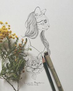 ...más gatitas para tatuar... Inktober, Draw, Illustration, Face, Instagram Posts, Objects, Tatuajes, Gatos, Illustrations