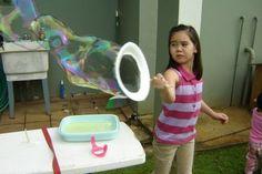 plastic plate & chopstick =)  To Make Bubbles:                            2 Tbsp. sugar (makes it last longer) 2 cups warm water  1 cup tear-free baby shampoo