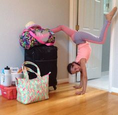This is Annie doing a handstand in her bedroom and she is from bratayley and acroanna
