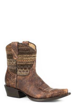 Roper Ladies Fashion Snip Toe Boots Vintage Brown Vamp Brown Fabric Shaft