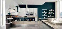 peinture pour cuisine blanche et mur en bleu pour cuisine ouverte sur salon