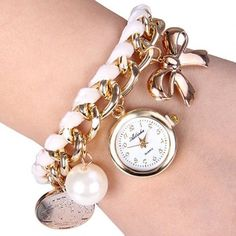 $5.76 Quartz Watch with Bowknot Artificial Pearl Round Dial and Chain Watch Band for Women
