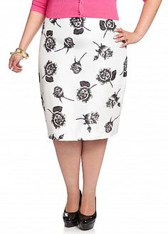 Ashley Stewart: Shantung Floral Print Pencil Skirt