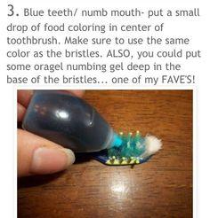 Blue teeth toothbrush prank                                                                                                                                                                                 More