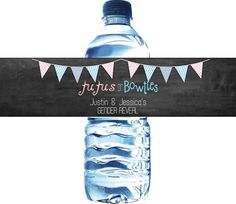 Personalized water bottle labels for your gender reveal party!